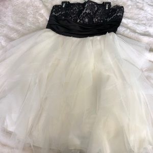 Flowy black and white homecoming dress